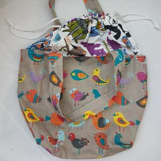 [NEW] [HANDMADE] Lunch Tote Bag with Drawstring
