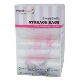 [BNIB] 120 Pre-sterilised PrettyMums Breastmilk Storage Bags (Box of 120) BPA Free