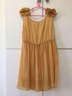 Mustard yellow chiffon dress