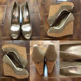 36.5 Jimmy choo velvet wedge sandals
