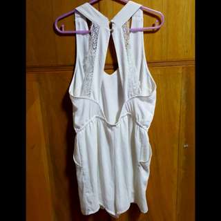 Large H&M white open back short jumpsuit /romper