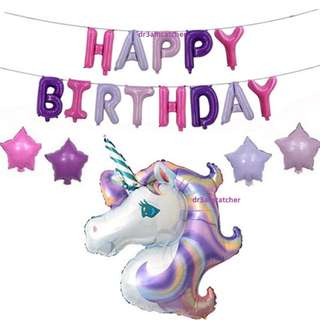 Purple and Pink Unicorn party balloons