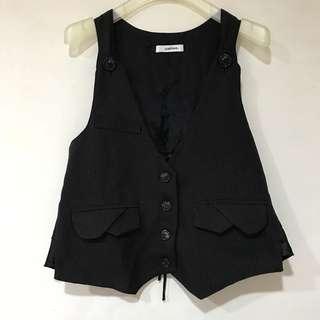 🚚 《瑕疵特賣》直條紋異材質拼接西裝背心 黑色
