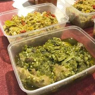 ayam woku, ayam cabe hijau , ikan dabu