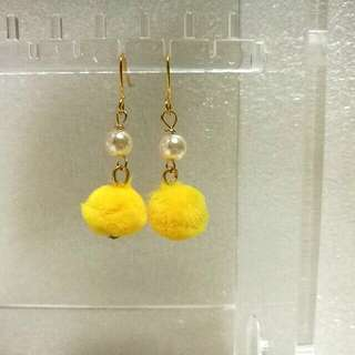 Dangling Style Small Yellow Pom Pom with Pearl Earring EB006