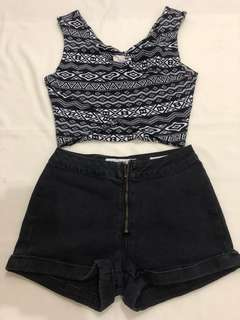 Crop Top and HW Black Shorts