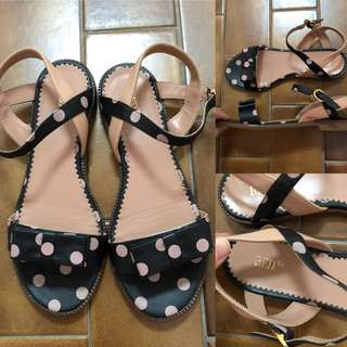 36 Red Valenino black leather with dots sandals