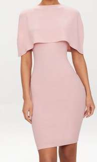 PRETTYLITTLETHING Cape Detail Midi Dress
