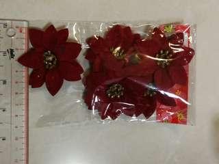 DIY 紅色聖誕花 裝飾