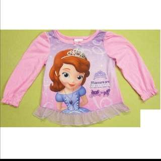 [Juniorcloset] FREE POSTAGE 🆕 Authentic Disney Sofia the first top (3T; long sleeve)