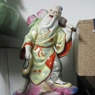 陶瓷公仔 東方塑 偷桃 長壽
