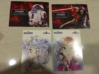 香港迪士尼樂園 frozen star war postcard 明信片 再送迪士尼貼紙