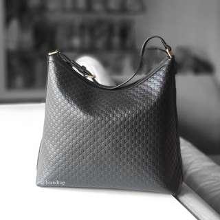 Authentic Gucci Black Leather GG Signature Hobo Zip Tote