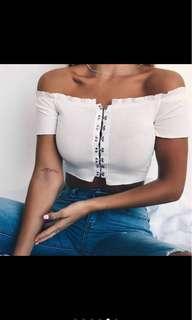 White off shoulder crop top