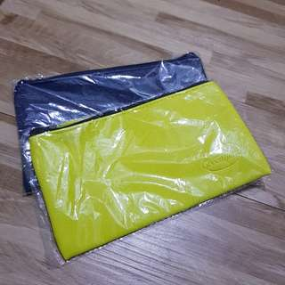 Brand new sealed Greenfields Greenish yellow and navy pouch