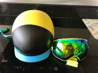 Bern snowboard helmet and goggles