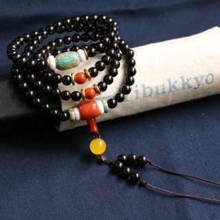 Tibukkyo德榕藏品 椰蒂 印尼料 極金工藝 6mm圓珠 菩提子 椰蒂佛珠 椰蒂念珠 藏傳佛教 手珠手串手環飾品手創