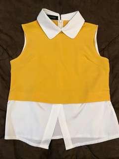 Sleeveless peterpan collar women shirt yellow