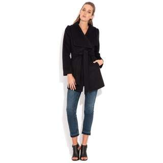 Wish Wrap Coat in Ink Size 8