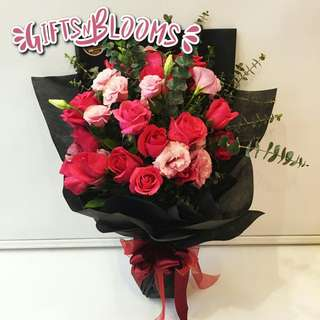 Fresh Flower Bouquet Anniversary Birthday Flower Gifts Graduation Roses Sunfowers Baby Breath -  1810     78