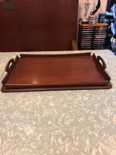 Vintage teak tray. Sleek.