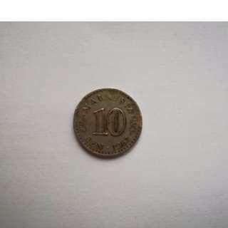 Duit Syiling Lama 10sen 1967/ 1967 Coin Malaysia
