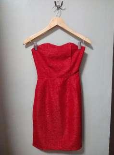 Red bodycon midi tube formal dress