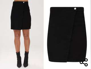 Black Denim Wrap Skirt