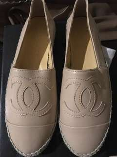 Chanel single sole leather espadrilles beige size EU 38. BNIB
