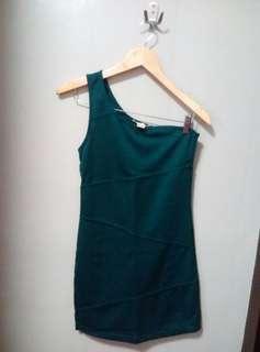 One shoulder dark green fitted dress