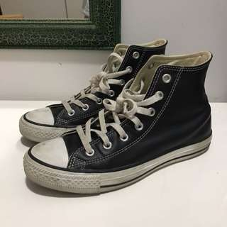 Converse Black Leather High Top Sneakers Chuck Taylor All Star