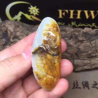 Xinjiang hetian seed mutton fat jade pendant.