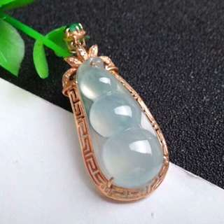 🍍18K Gold - Grade A Icy White Bean 平安四季豆 Safe for all seasons Jadeite Jade Pendant🍍
