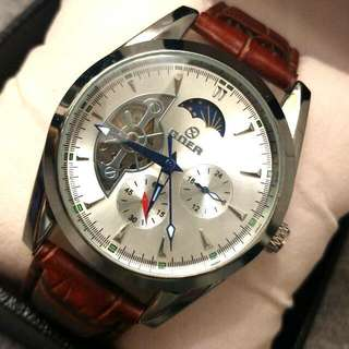 全自動陀飛輪日月星晨機械真皮手錶 Automatic Tourbillon Sun and Moon Star Mechanical Genuine  Leather Watch