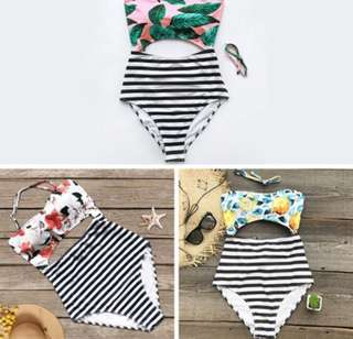 One Piece Swimsuit (Floral top with Stripe Bottom)
