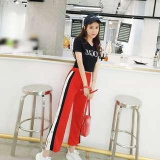 時尚休閒套裝修身短版印花T恤+高腰開叉條紋寬褲