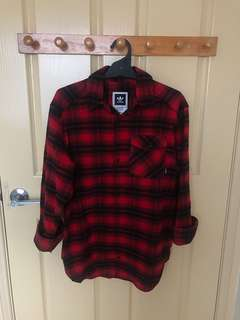 Adidas red flannel shirt