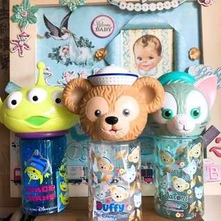 「現貨」特價-正版香港迪士尼限定款-Duffy 達菲 畫家貓(傑拉托尼)三眼怪 造型大頭冷水壺 400ml -大頭收納罐