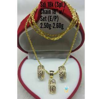 18K SPL SAUDI GOLD SET ( CHAIN, PENDANT & EARRINGS ) ,.'.