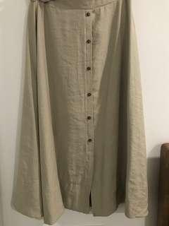 Midi button-down skirt