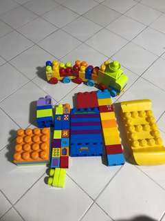 Mega Bloks with Learning train building set and Trolley