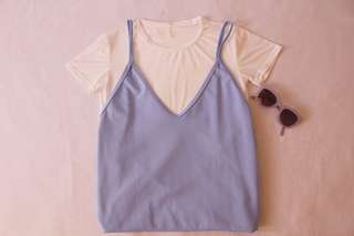 Pastel blue slip dress
