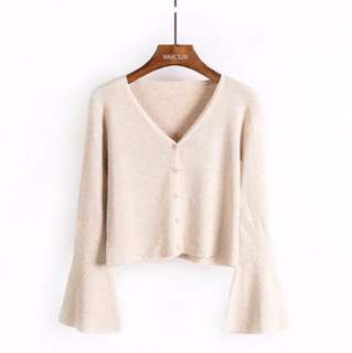 Flare sleeve button down cream top