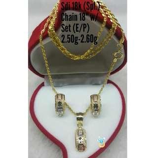 18K SPL SAUDI GOLD SET ( CHAIN, PENDANT & EARRINGS ) ,,,.