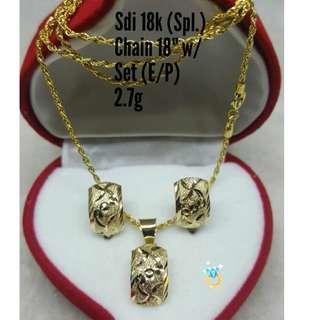 18K SPL SAUDI GOLD SET ( CHAIN, PENDANT & EARRINGS ) ,,..,,