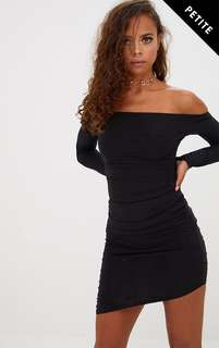 Black Slinky Asymmetric Bardot Dress