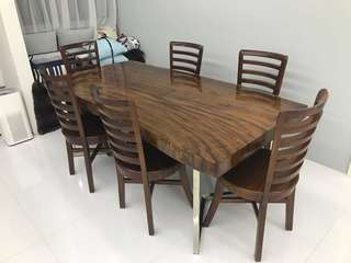Suar wood dining table & mahogany wood chair