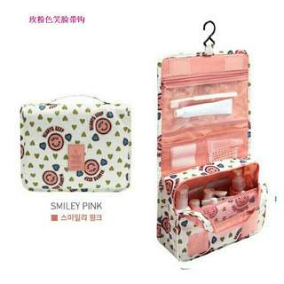 Travel toiletry multifunction bag organizer (pink smile) more colors available
