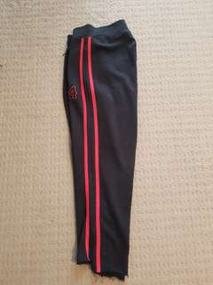 Red striped trackies with step