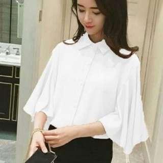 [Gita white RO] blouse wanita twiscont putih
